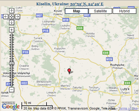 Map Kiselin Kovel Lokacze UKRAINE